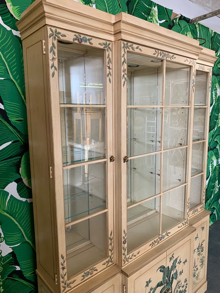 Hand Painted China Cabinet by Drexel side view