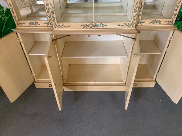 Hand Painted China Cabinet by Drexel open view