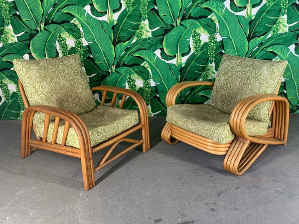 Pair of Rattan Paul Frankl Style Lounge Chairs front view