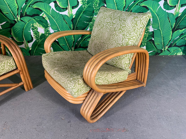 Pair of Rattan Paul Frankl Style Lounge Chairs close up