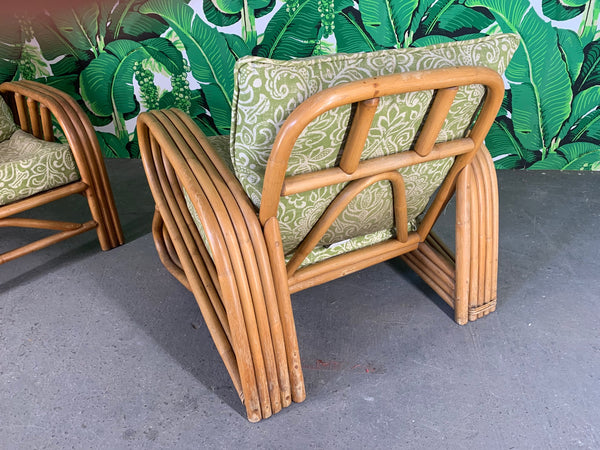 Pair of Rattan Paul Frankl Style Lounge Chairs