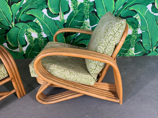 Pair of Rattan Paul Frankl Style Lounge Chairs side view