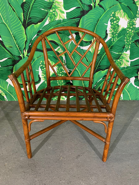Faux Bamboo Chinoiserie Rattan Arm Chairs, Set of 6 front view