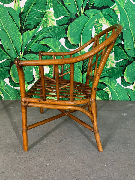 Faux Bamboo Chinoiserie Rattan Arm Chairs, Set of 6 side view