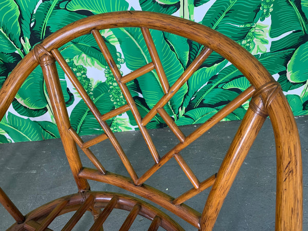 Faux Bamboo Chinoiserie Rattan Arm Chairs, Set of 6 close up
