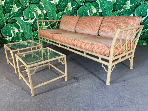 Faux Bamboo Metal Chinoiserie Patio Sofa and Tables by Meadowcraft front view