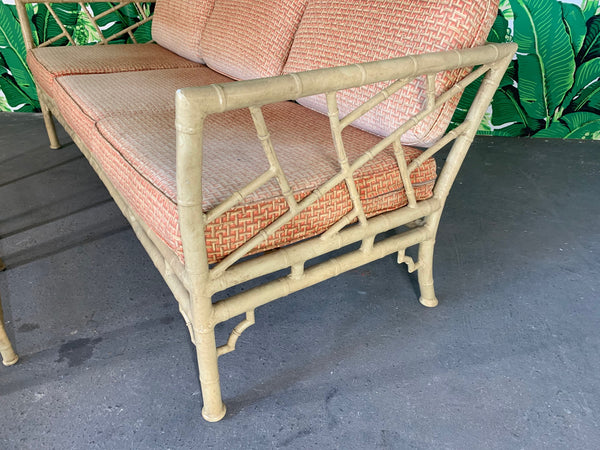 Faux Bamboo Metal Chinoiserie Patio Sofa and Tables by Meadowcraft side view