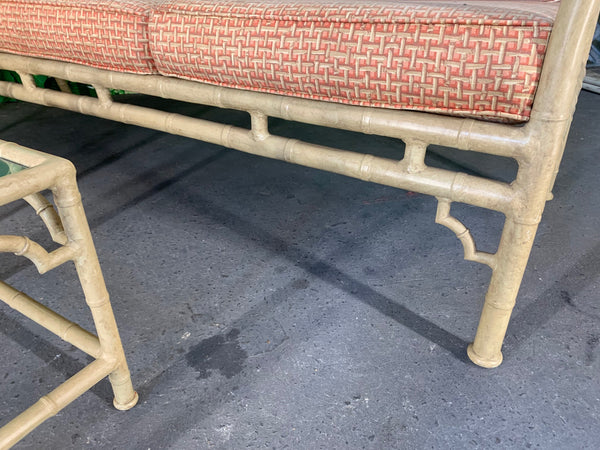Faux Bamboo Metal Chinoiserie Patio Sofa and Tables by Meadowcraft close up