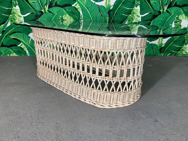 Woven Rattan and Wicker Coffee Table front view