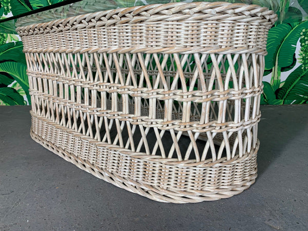 Woven Rattan and Wicker Coffee Table close up
