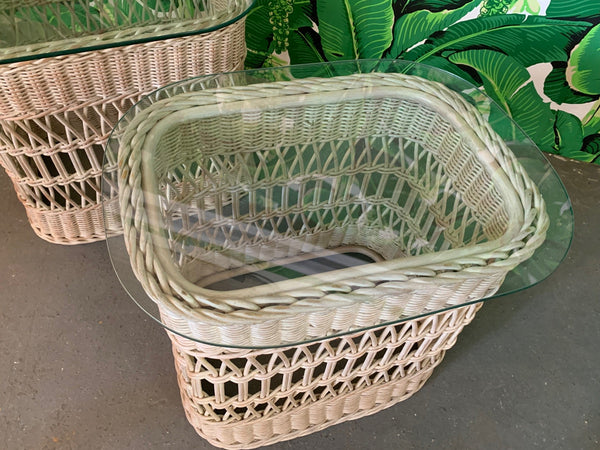 Woven Rattan and Wicker End Tables top view