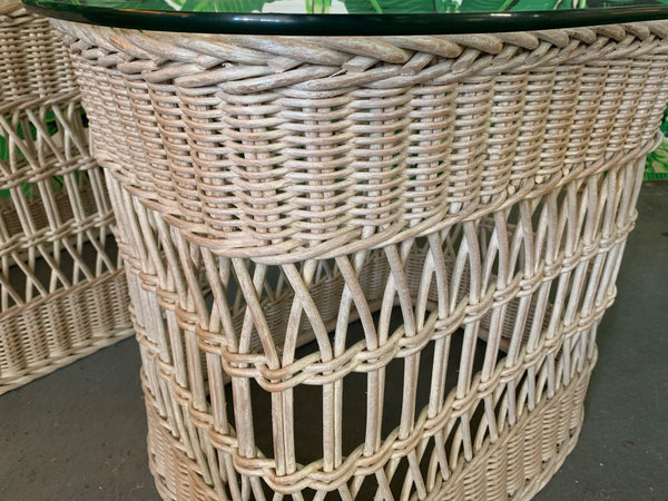 Woven Rattan and Wicker End Tables close up