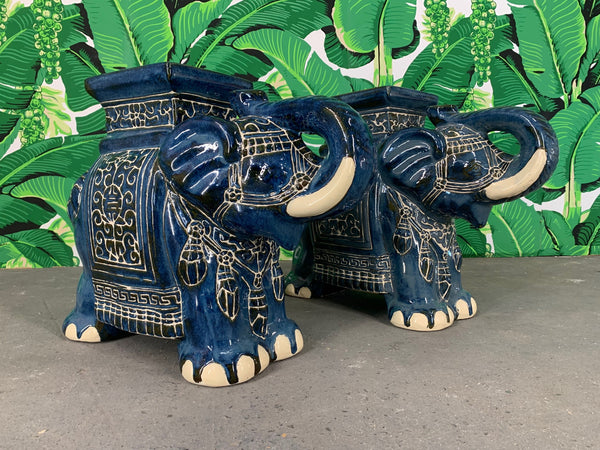 Pair of Chinese Elephant Glazed Ceramic Garden Stools front view