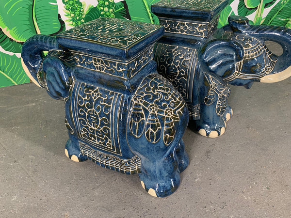 Pair of Chinese Elephant Glazed Ceramic Garden Stools
