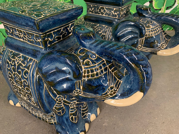 Pair of Chinese Elephant Glazed Ceramic Garden Stools side view