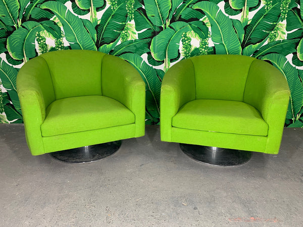 Pair of Green Upholstered Club Chairs in the Manner of Milo Baughman front view