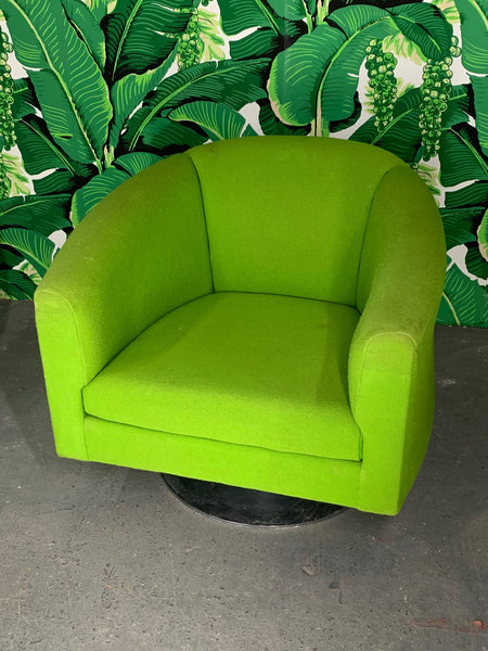 Pair of Green Upholstered Club Chairs in the Manner of Milo Baughman side view