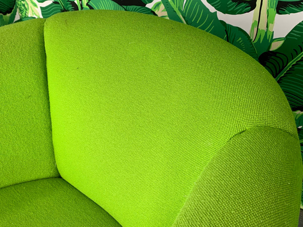 Pair of Green Upholstered Club Chairs in the Manner of Milo Baughman close up