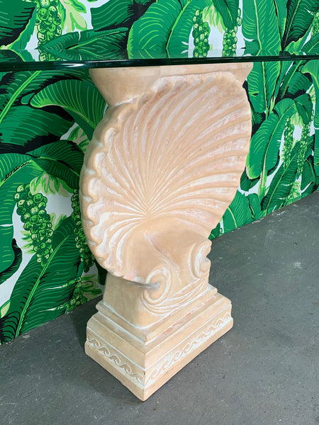 Hollywood Regency Shell Form Console Table After Edward Wormley close up