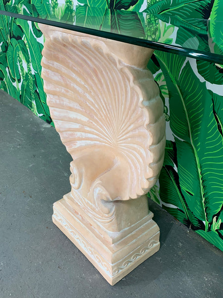 Hollywood Regency Shell Form Console Table After Edward Wormley side view