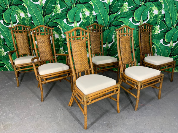 Bamboo Pagoda Dining Chairs by McGuire, Set of Six front view