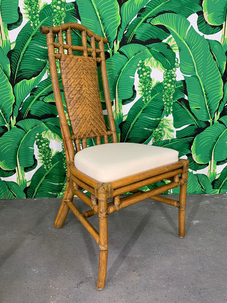 Bamboo Pagoda Dining Chairs by McGuire, Set of Six side view