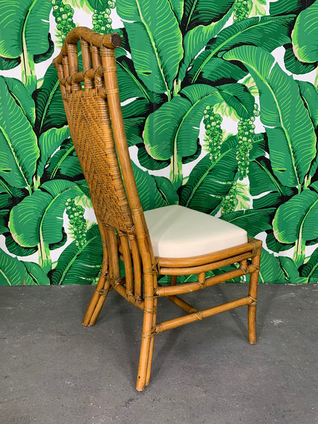 Bamboo Pagoda Dining Chairs by McGuire, Set of Six rear view