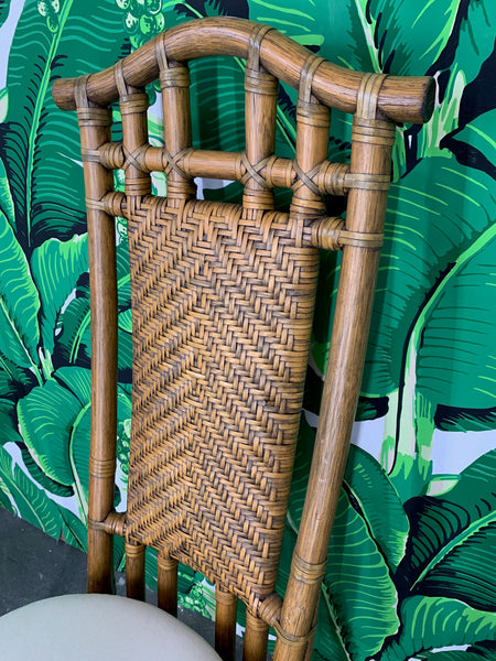 Bamboo Pagoda Dining Chairs by McGuire, Set of Six close up