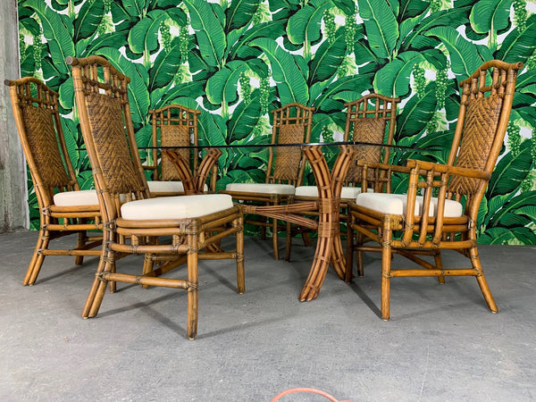 Bamboo Pagoda Dining Set by McGuire front view