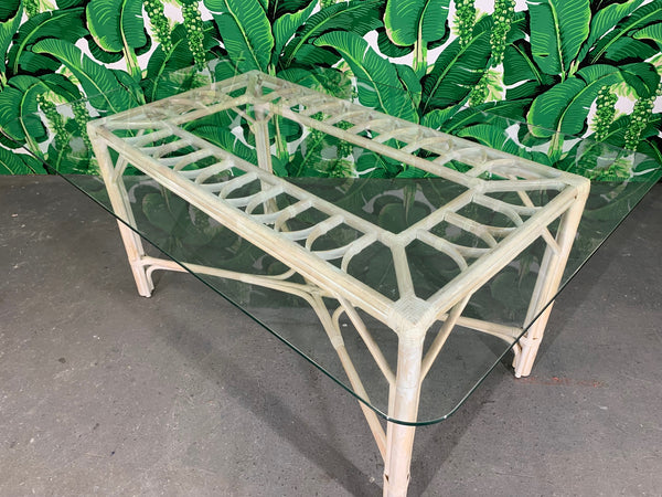 Rattan Glass Top Dining Table top view