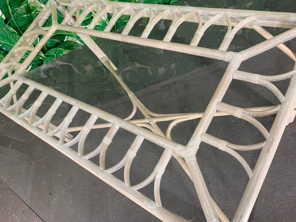 Rattan Glass Top Dining Table close up