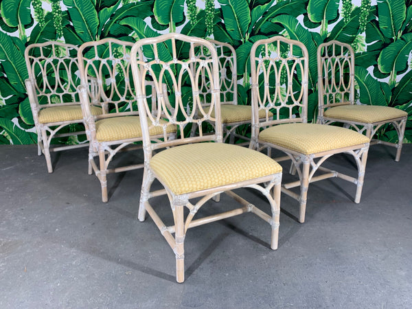 Rattan Loop Back Dining Chairs by Lexington front view