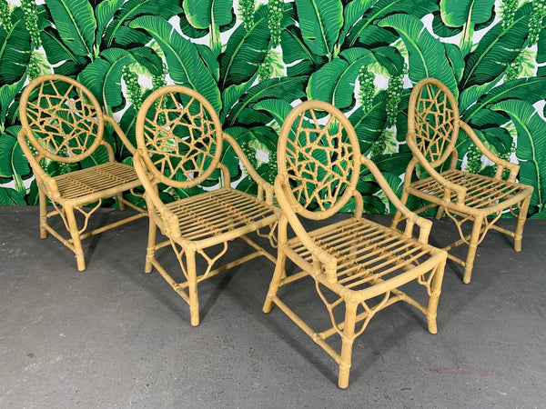 Rattan Cracked Ice Dining Chairs in the Manner of McGuire, Set of 4 front view