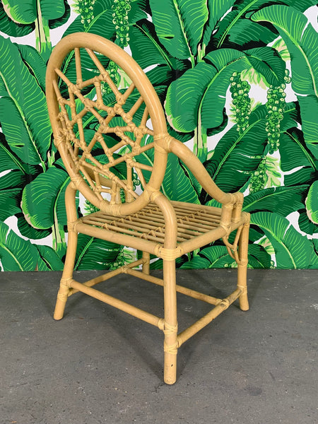 Rattan Cracked Ice Dining Chairs in the Manner of McGuire, Set of 4 rear view