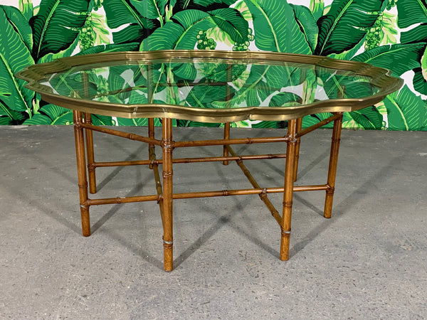 Faux Bamboo Coffee Table With Brass and Glass Top front view