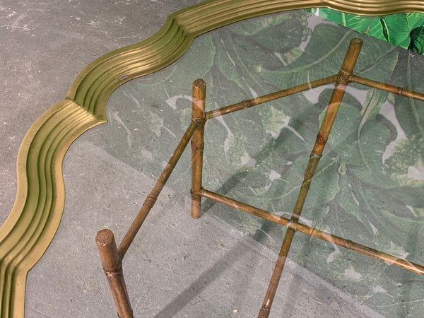 Faux Bamboo Coffee Table With Brass and Glass Top close up