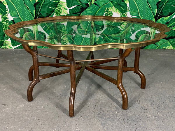 Brass and Glass Tray Top Coffee Table by Baker front view