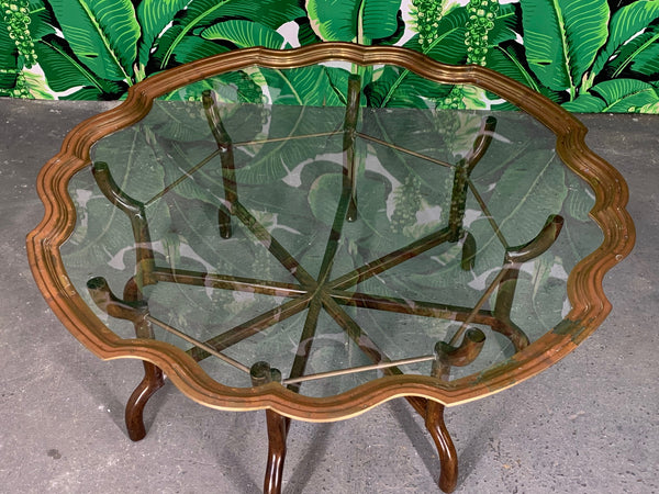 Brass and Glass Tray Top Coffee Table by Baker top view