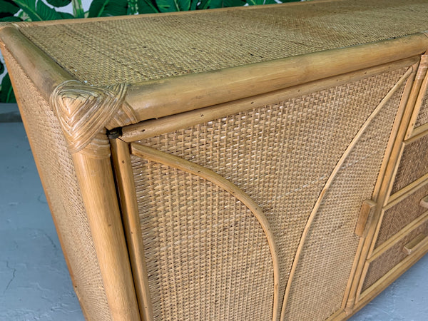 Woven Rattan Tiki Style Dresser close up