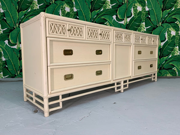Asian Chinoiserie Style Bamboo Dresser front view