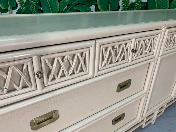Asian Chinoiserie Style Bamboo Dresser close up