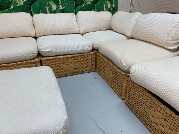 Seven Piece Wicker Sectional Sofa in the Manner of Michael Taylor