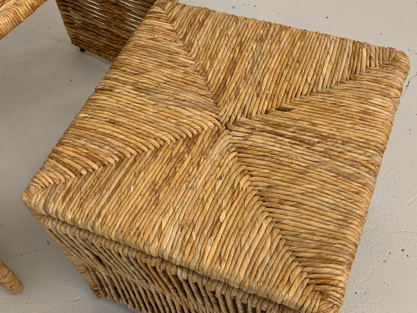 Rattan Rope Wrapped Nesting Tables close up