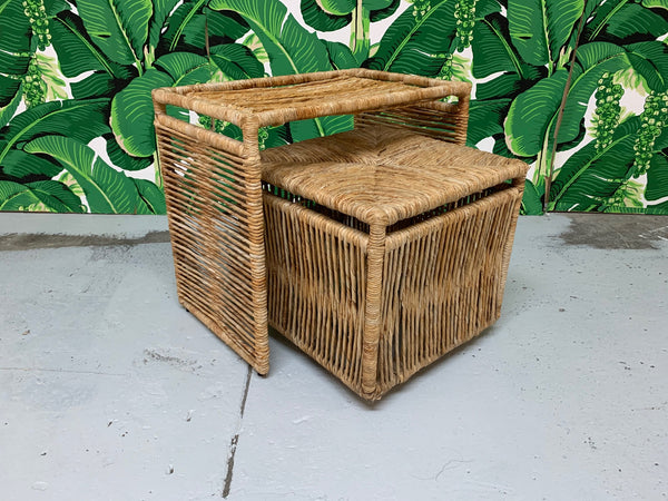 Rattan Rope Wrapped Nesting Tables front view