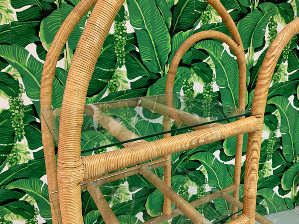 Rattan Wrapped Etagere close up