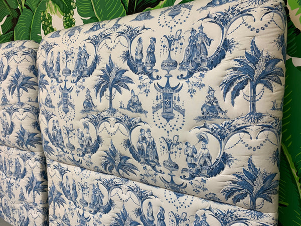 Twin Size Chinoiserie Style Upholstered Headboards close up