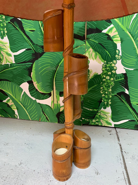 Vintage Tiki Style Rattan and Bamboo Table Lamps close up