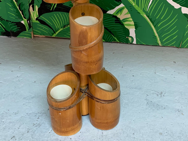 Vintage Tiki Style Rattan and Bamboo Table Lamps