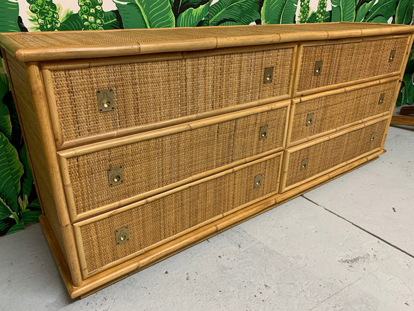 Bamboo and Woven Rattan Double Dresser close up