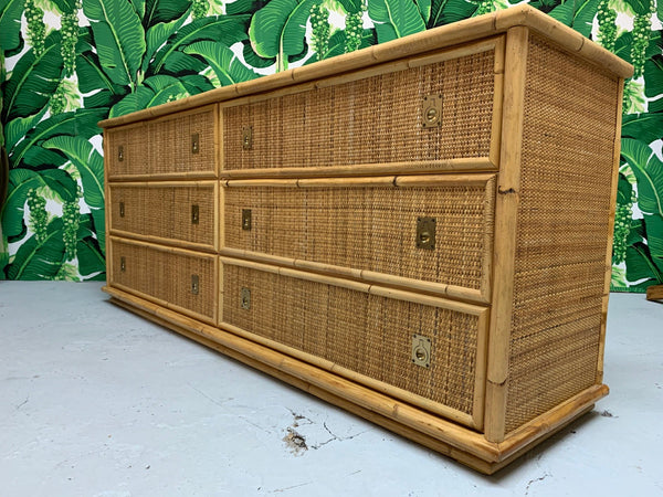 Bamboo and Woven Rattan Double Dresser side view